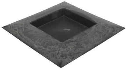 Onderbord Loodlook vierkant met hoge rand 40x40x4,5cm.  Onderbord Basic Grey