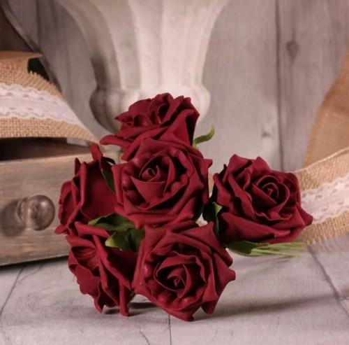 Foam Roos Tea Rose X6 Burgundy Donkerrood Foamroos