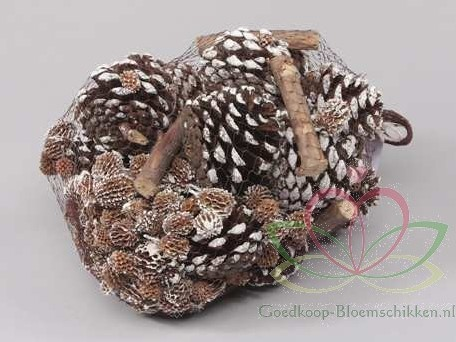 Denneappels mix Net 500 gram. forest mix White Tip Denneappelmix