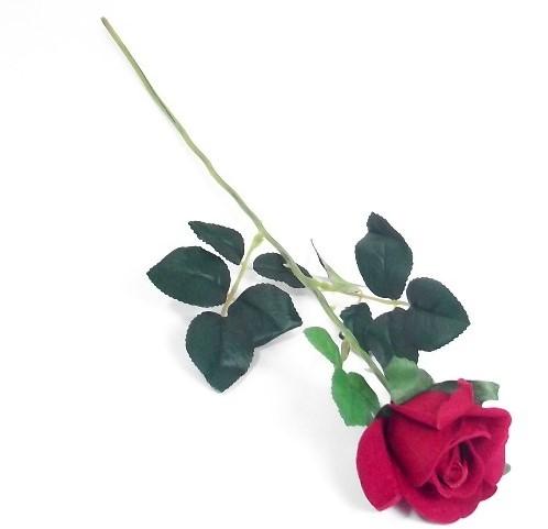 Rode roos Valentijnroos Velvet Zijde stuk SINGLE VELVET ROSE RED met blad
