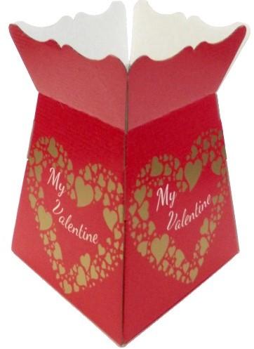EURO BOUQUET BOX VALENTINES SCRIPT RED/GOLD X 25pcs Boeketverpakking
