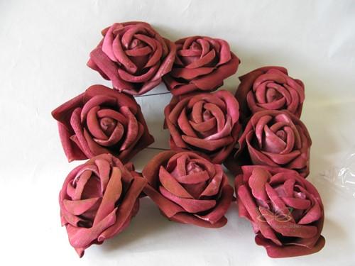 foam Rose Open Burgundy Gemeleerd 10cm. Zak/9 stuks foam Roos