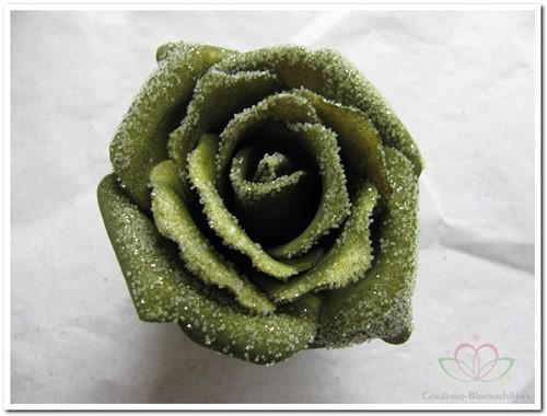foam Rose Emilia 6cm. snow Smaragd Green BUNDEL 7 bundel 7 stuks