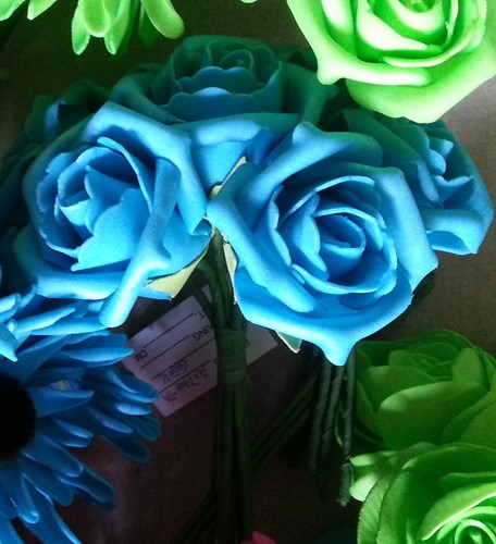 foam Rose Emilia 6cm. Neon Blauw BUNDEL7 Bundel 7 stuks