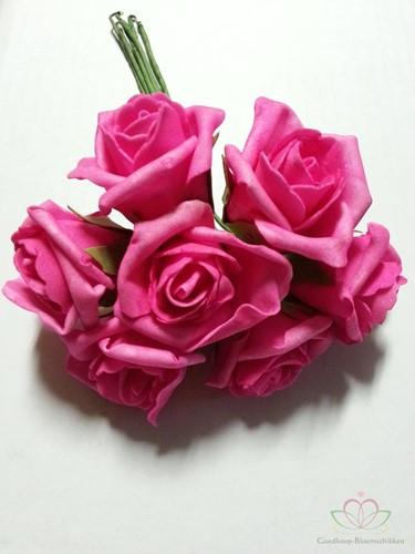 foam Rose Emilia 6cm. Neon Pink DOOS42 Doos 42