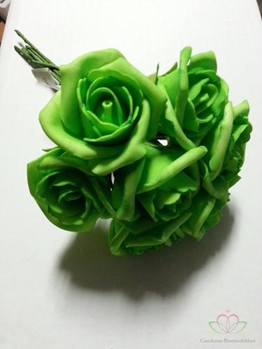 foam Rose Emilia 6cm. Neon Groen DOOS42 Doos 42
