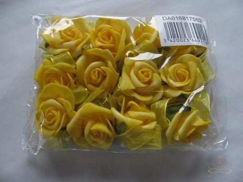 Mini foam roos 2 cm. Geel zelfklevend / pak Mini foam roos