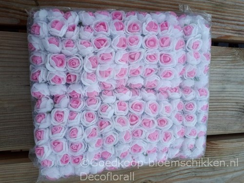 Actie Mini foamrose met tule Wit+D Roze hart BULK pak 144 st 2 cm.