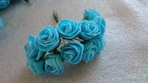 Mini foam roos 2, 5 cm. Blue Blauw +/- 144st zak Mini foam roos