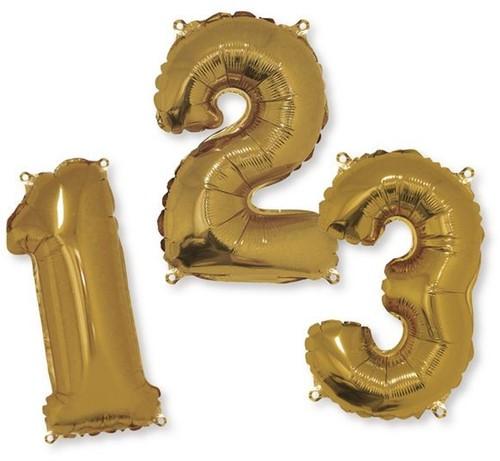Folie ballonnen cijfers 40cm Goud