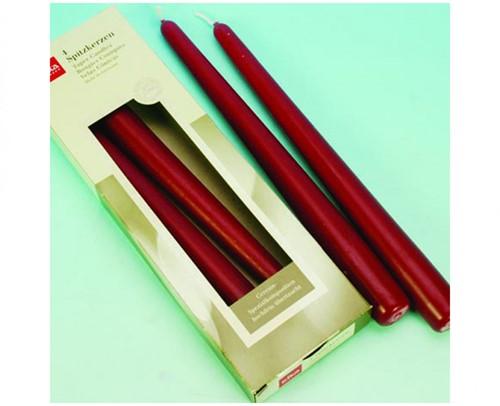 EIKA taper kaarsen BordeauRood set van 4   mooie Kaarsen 25x2,5cm