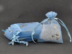 Giftbag organza Lichtblauw Golden Butterfly 7*9 cm. Giftbag organza Lichtblau