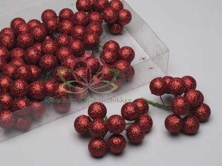 GlitterKerstballen 25 mm 12*10 doosje ROOD Glitterkerstballetjes