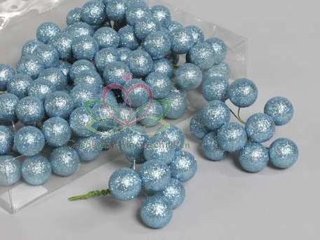 GlitterKerstballen 25 mm 12*10 doosje Skyblue Glitterkerstballetjes