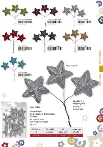 Glittersterren, zak 12 stuks 55mm op=op - zilver 211 Glitterster