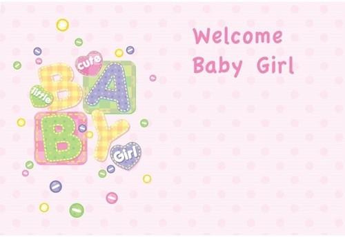 Bloemenkaartjes Baby Girl- Welcome pakje 50 Wenskaarten