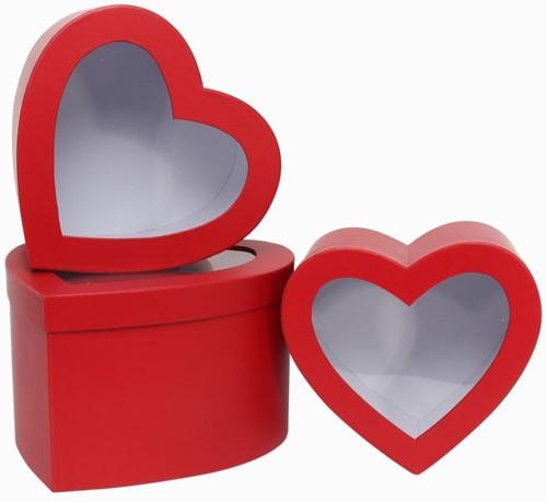 Set van 3 rode hartvormige bloemendozen met venster Bloemendoos