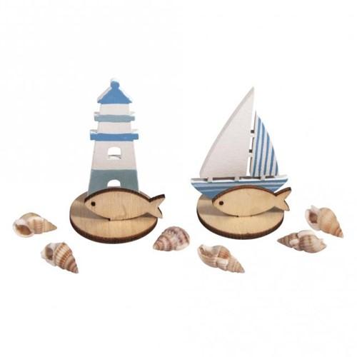 Houten deco Maritiem, 2 soorten zeilboot, vuurtoren ZB-zak  Houten deco maritiem