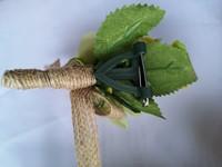 Luxe Corsage Groen met jute op pinclip Corsage Klaar -2