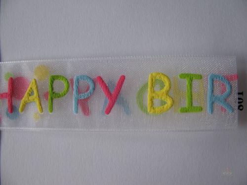 Lint Happy Birthday Organza Multicolor 22mm rol 15 meter Lint Birthday