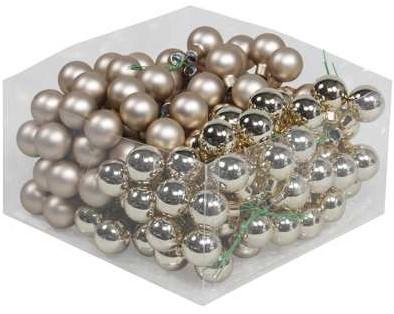 Balletjes op draad 2, 5 cm. Autumn Blonde combi doos 144 stuks Kerstballen 2, 5 cm.