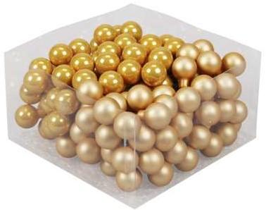 Balletjes op draad 2, 5 cm. Saffron Oker combi doos 144 stuks Kerstballen 2, 5 cm.
