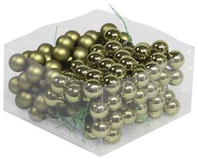 Balletjes op draad 2, 5 cm. Naturalgreen combi doos 144 stuks Kerstballen 2, 5 cm.