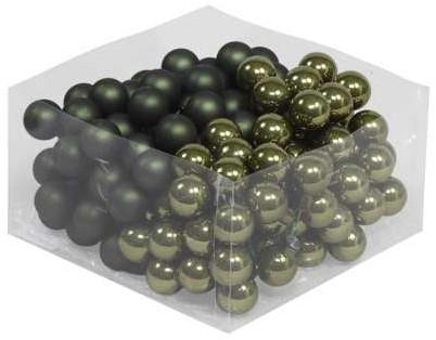 Balletjes op draad 2, 5 cm. Pinegreen combi doos 144 stuks Kerstballen 2, 5 cm.