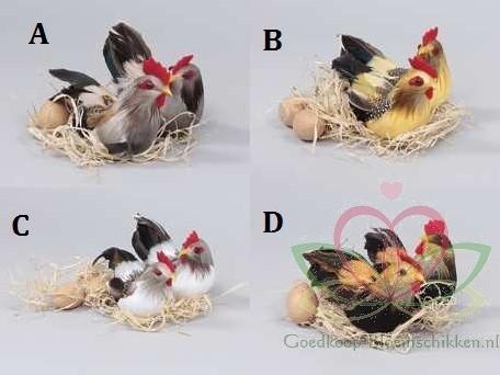 Kip en haan met eieren. Geel stijl B Kip en Haan paar