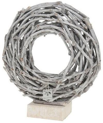 Krans op blok/voet Round wreath 40cm. on block White wash Krans op blok