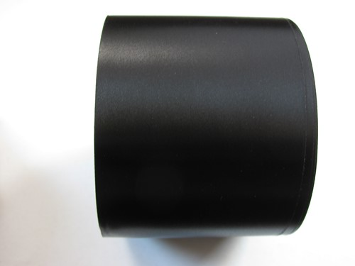 Zwart bedrukt lint 70 mm met wit opdruk Bedrukt lint 70 mm