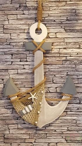 Maritiem Houten Decoratie anker 80cm. incl. touw Houten Anker