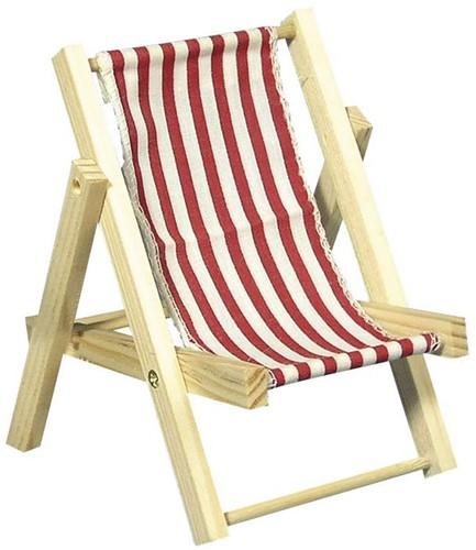 Maritiem HOUTEN zonneligstoel ROOD 14cm. 1 st Maritiem strandstoel