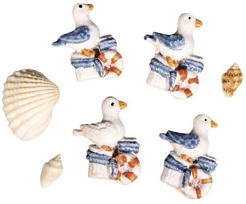Maritiem Polyresin meeuwen en schelpen, 0, 8-2, 7cm. 4 meeuwen,  Polyresin meeuwen en sche
