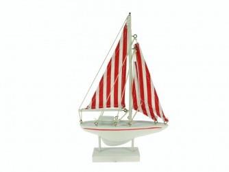 Maritiem Zeilboot rood/wit 23x14cm. Maritiem Zeilboot 23*14c