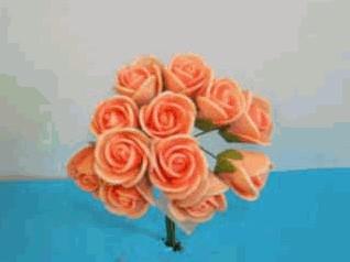 Actie Mini foam roos 2 cm. Oranje doos 144 st Mini foam roos