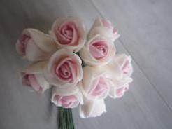 Mini foam roos 2 cm. cremerose / bundel Mini foam roos