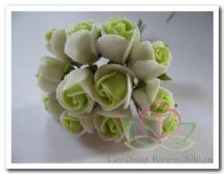 Mini foam roos 2 cm. Groen /creme doos 144 st Mini foam roos