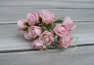 Mini foam roos 2 cm. Roze / doos144 Mini foam roos