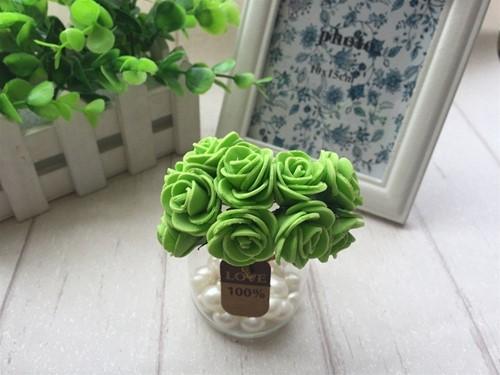 Mini foam roos 2, 5 cm. appelGroen +/- 144st zak,  Mini foam roos
