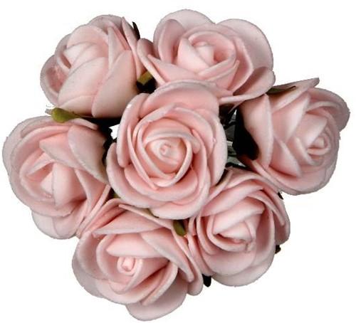 Mini foam roos Softroze 3cm. foambloemen per bundel 7 stuks