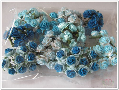 Mulberry Roosjes Aqua - Turquoise mixed10-15 mm / PAK Mulberry Roosje