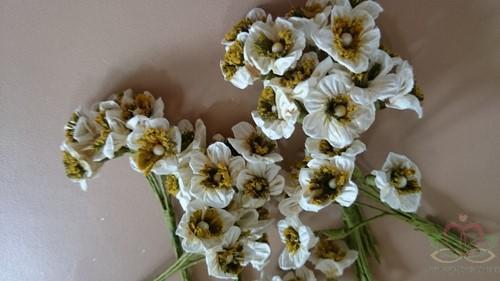 Mulberry bloemen Cremewit-Groen per PAK Mulberry Roosje