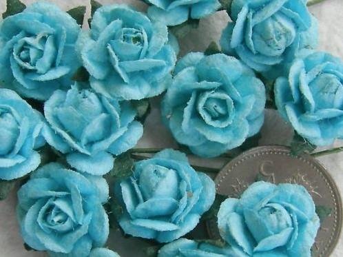 Mulberry Roosjes Turquoise/Lichtblauw 10-15 mm / PAK Mulberry Roosje