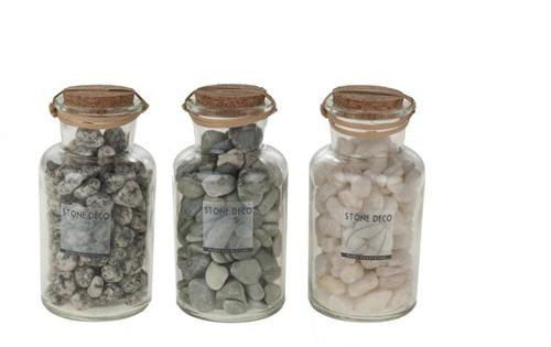 Natural stone in glas 3 verschillende set van 3 potten decoratiesteen