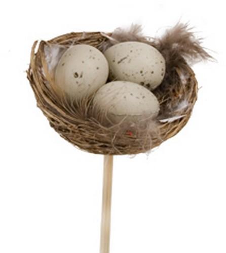 Bijsteker Lang 50 cm. Met Nestje 5*8 cm. Met 3 eitjes / pak25 Nestje 5 cm. Met