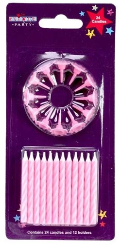 Roze kaarsjes met houdertjes / pakje taart kaarsjes verjaardagskaarsjes
