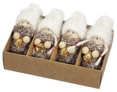 Meisjes kabouter hangers bruin/wit set van 4 kabouterpoppetjes 7cm