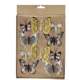 Vlinders Mengsel geel en bruin Pak 10 st Vlinder Vlinders met clip