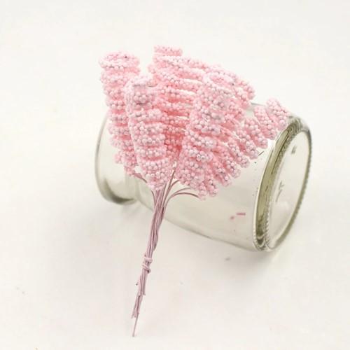 Foam Curly Stamen Bacca pick Roze 12/bundel voor corsages en inpakken